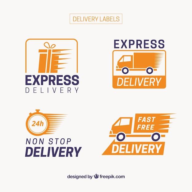 Pacote moderno de etiquetas de entrega express Vetor grátis