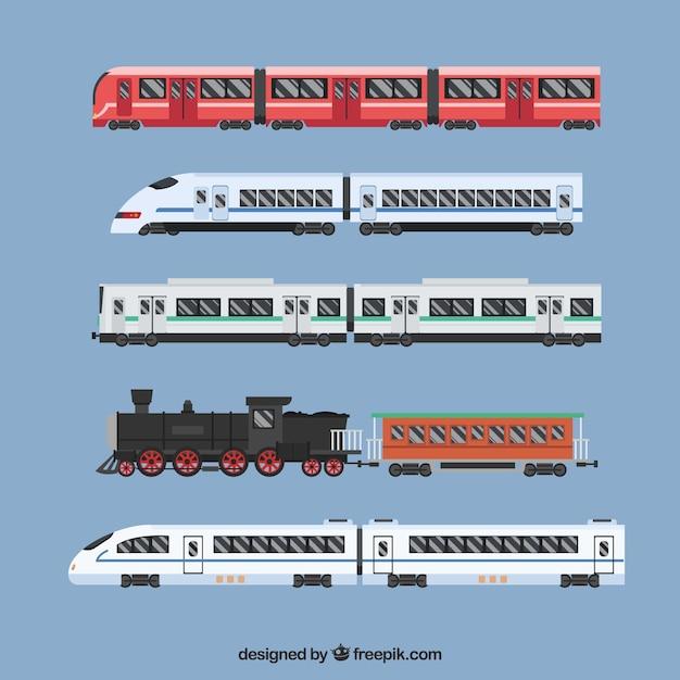 Pacote, modernos, vindima, trens, liso, desenho Vetor grátis