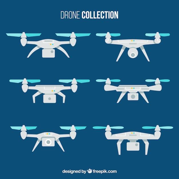 Pacote plano de drones Vetor grátis
