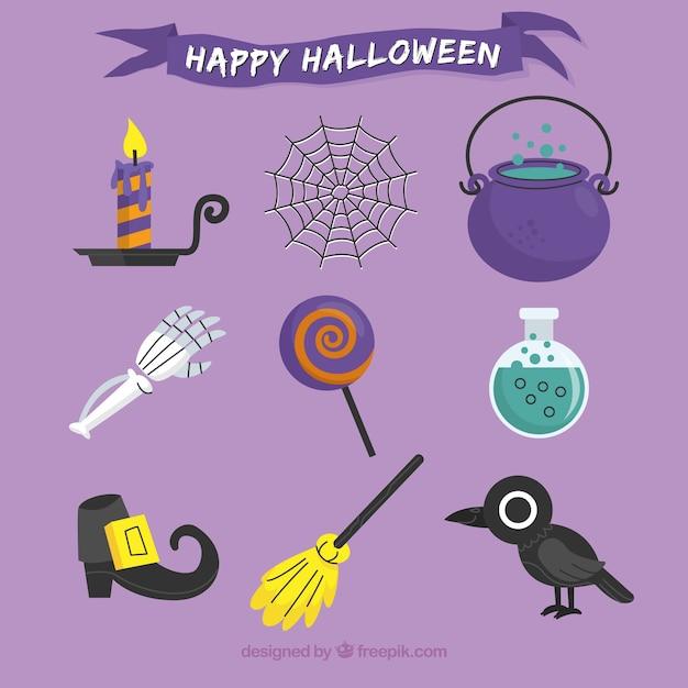 Pacote plano de elementos originais de halloween Vetor grátis