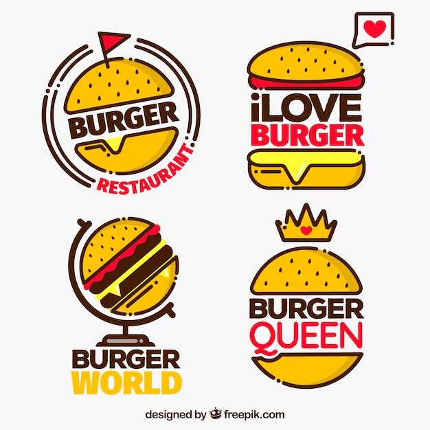Pacote, quatro, hamburguer, logotipo, vermelho, detalhes Vetor grátis