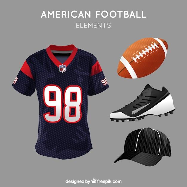 Pacote realista de itens de futebol americano  f95851d11a098