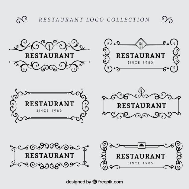 Pacote retro de logotipos de restaurantes clássicos Vetor grátis