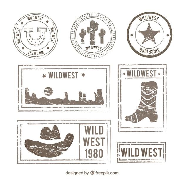 Pacote retro de selos selvagens do oeste posteres Vetor grátis