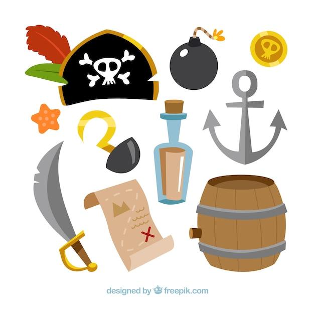 Pacote, tradicional, pirata, elementos Vetor grátis