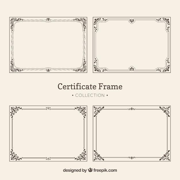 Pacote vintage de quadros de certificado Vetor grátis