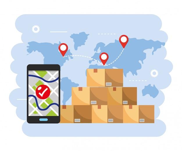 Pacotes de caixas com localização do mapa do smartphone gps Vetor Premium