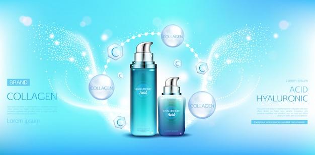 Pacotes de cosméticos de colágeno com ácido hialurônico Vetor grátis