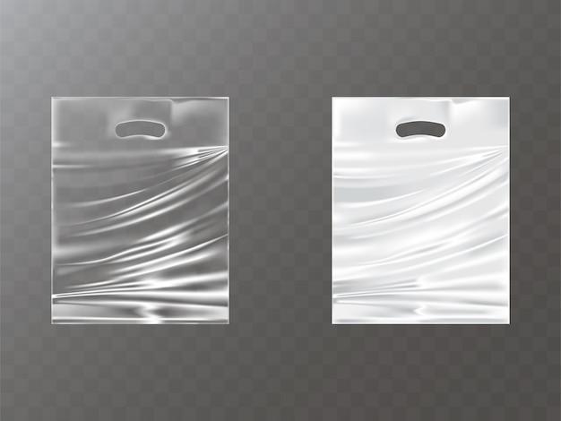 Pacotes de plástico com buraco de mão realistas Vetor grátis