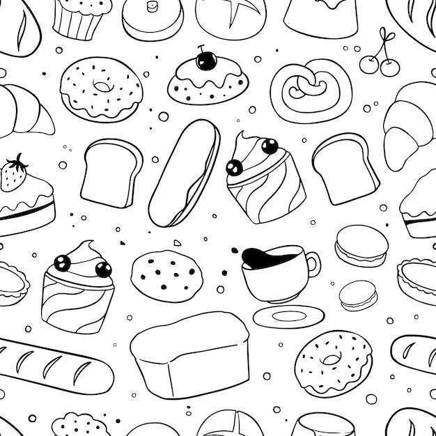 Padaria doodles padrão sem emenda Vetor Premium