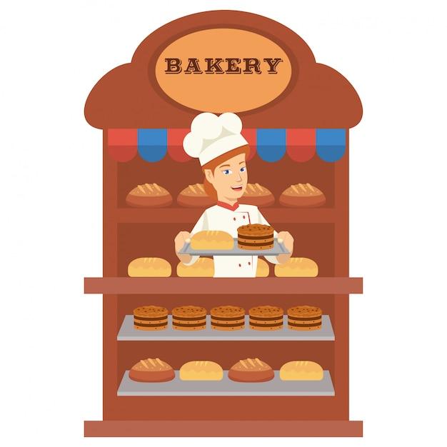 Padeiro jovem é vender muitos pão na padaria Vetor Premium