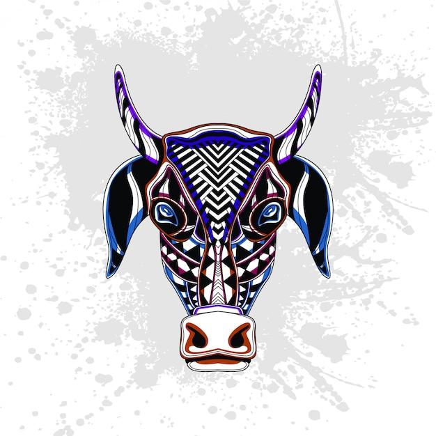 Padrão abstrato de vaca Vetor Premium