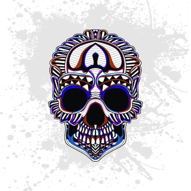 Padrão abstrato do crânio Vetor Premium