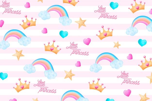 Padrão bonito com elementos encantadores para uma pequena princesa Vetor grátis