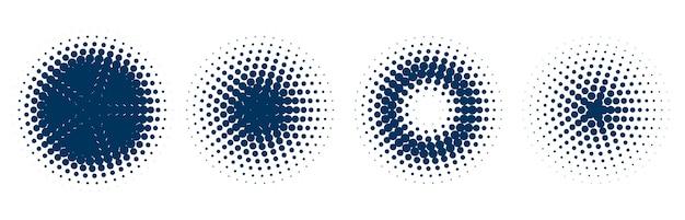 Padrão circular de meio-tom conjunto de quatro Vetor grátis