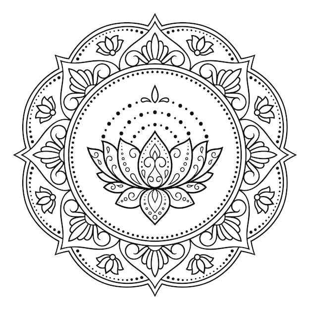 Padrão circular em forma de mandala com flor de lótus para tatuagem de henna, mehndi, decoração. Vetor Premium