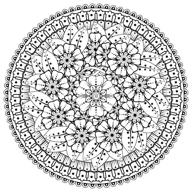 Padrão circular em forma de mandala com flores para henna, mehndi, tatuagem, decoração. decoração de flores mehndi em estilo étnico oriental, indiano. Vetor Premium