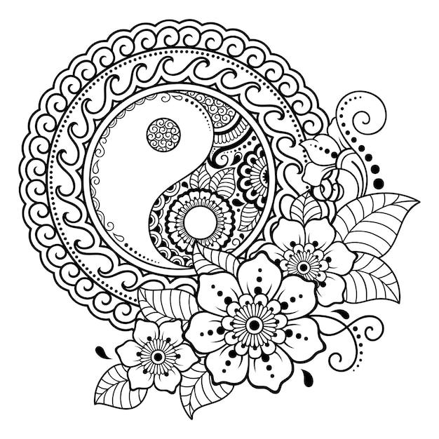 Padrão circular em forma de mandala para henna, mehndi, tatuagem, decoração. ornamento decorativo em estilo oriental com símbolo desenhado de mão yin-yang. página do livro de colorir. Vetor Premium