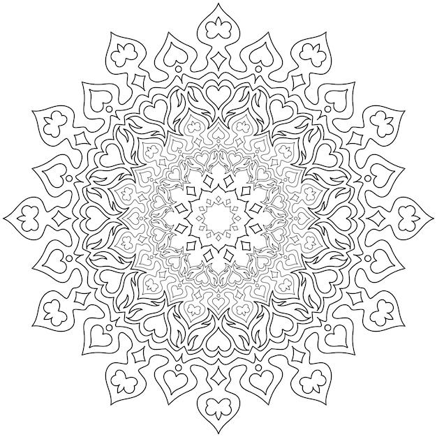 Padrão circular em forma de mandala para henna Vetor Premium