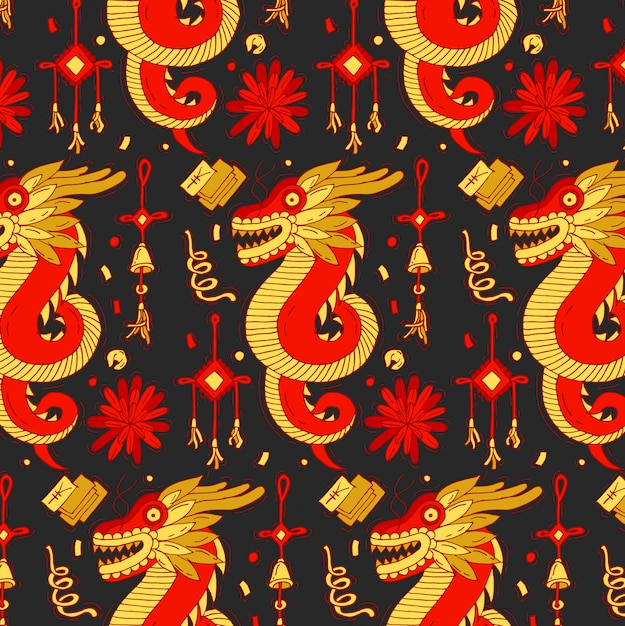 Padrão colorido com dragão tradicional e elementos do ano novo chinês. fundo brilhante do ano novo chinês. Vetor Premium