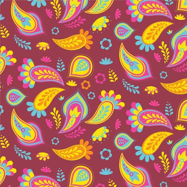 Padrão colorido de paisley Vetor grátis