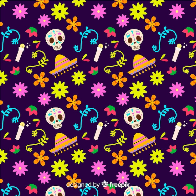 Padrão colorido dia de muertos em design plano Vetor grátis