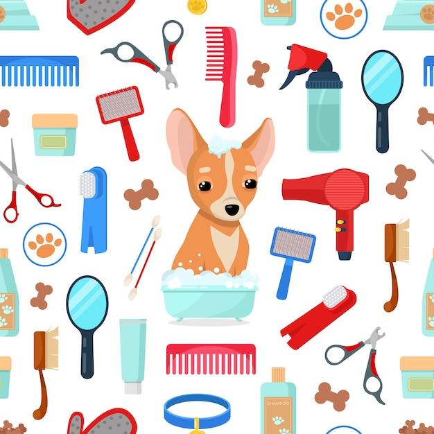 Padrão com aliciamento de ferramentas e cachorro Vetor Premium