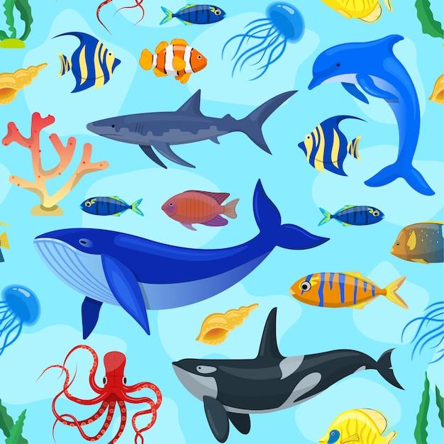 Padrão com animais do oceano Vetor Premium