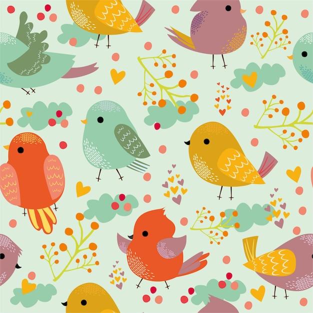 Padrão com bonitos pássaros coloridos. Vetor grátis