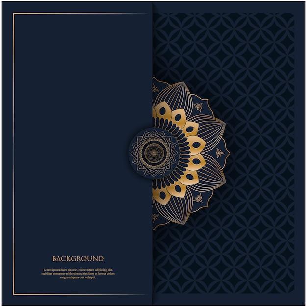 Padrão com mandala dourada ornamento vintage e lugar para texto em fundo azul marinho para convite, fundo de cartão postal Vetor Premium