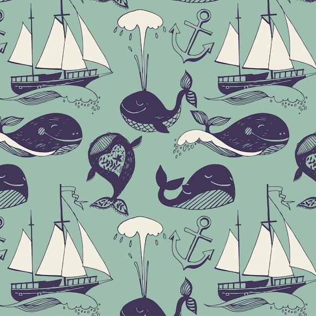 Padrão com motivos marinhos. iates, baleias engraçadas, viagem ensolarada despreocupada. Vetor grátis