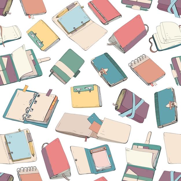 Padrão com o bloco de notas, caderno, agendas, cadernos mão desenhada no fundo branco. Vetor Premium