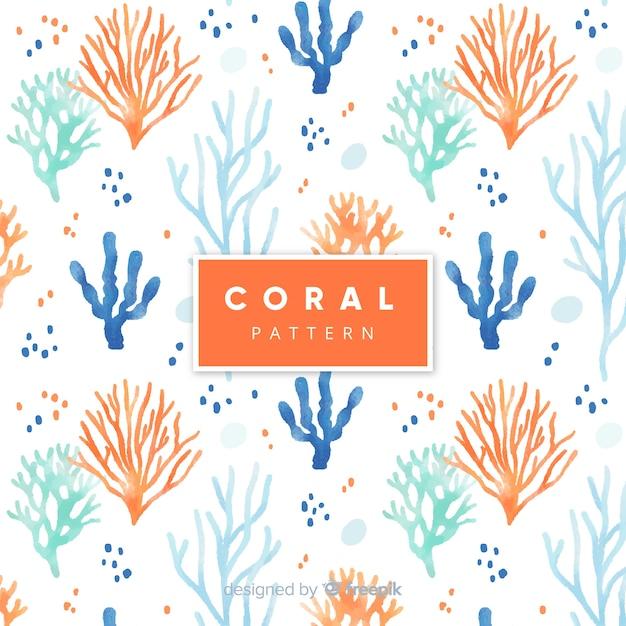Padrão coral aquarela Vetor grátis