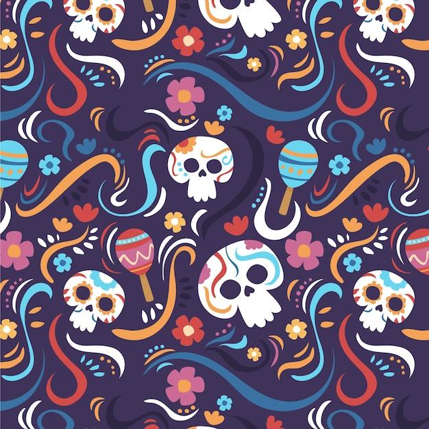 Padrão criativo de día de muertos Vetor grátis