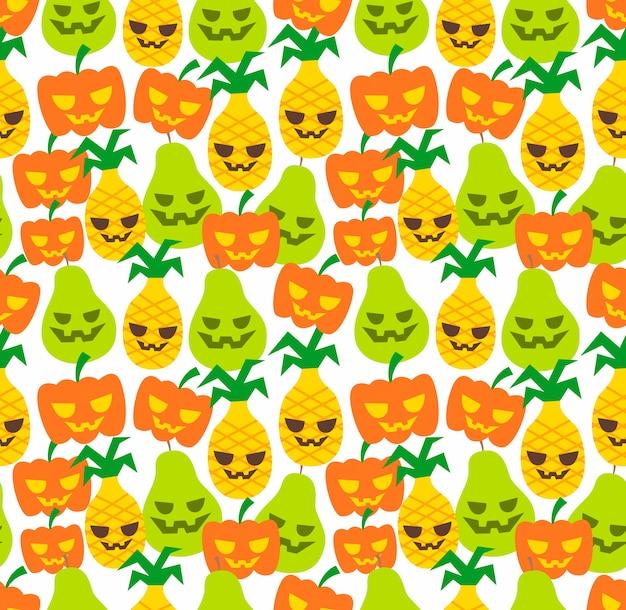 Padrão de abacaxi de fruta sem costura halloween Vetor Premium