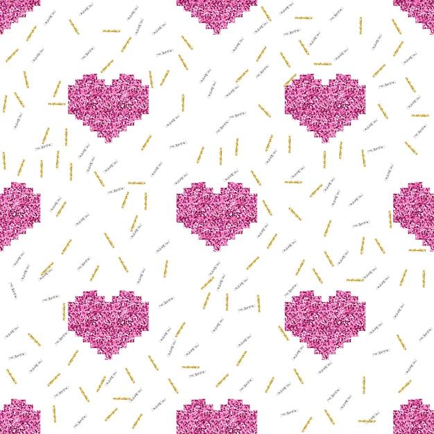 Padrão de amor com corações brilhantes Vetor Premium