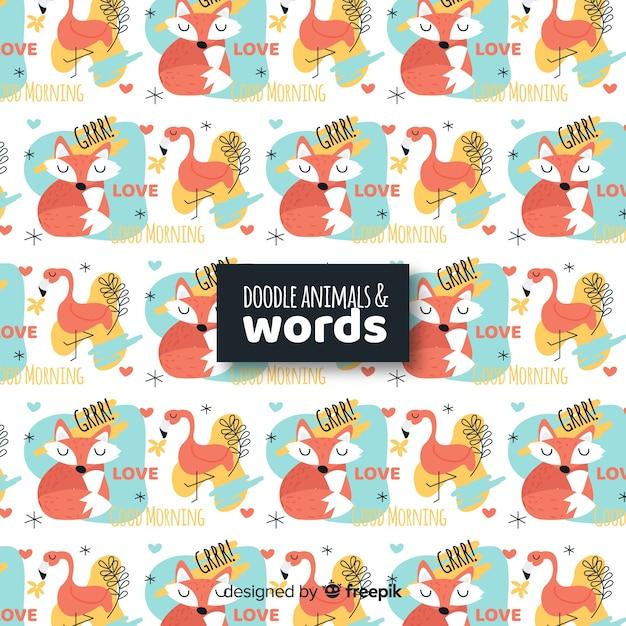 Padrão de animais e palavras de doodle engraçado Vetor grátis