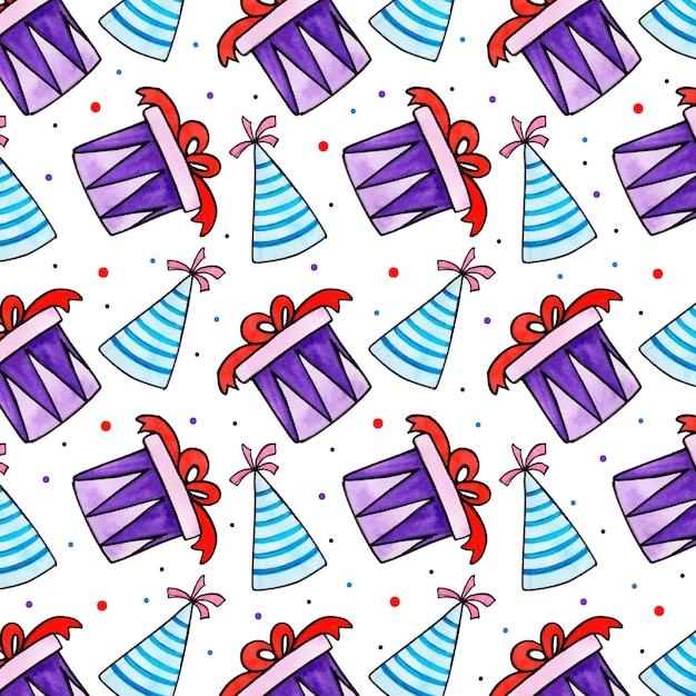 Padrão de aniversário em aquarela Vetor Premium