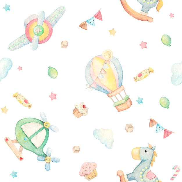 Padrão de aquarela com animais fofos e brinquedos. cavalo, balão, nuvens, bolo de avião de helicóptero, bolo Vetor Premium