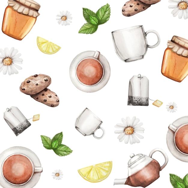 Padrão de aquarela com conjunto de chá, mel, hortelã, limão e biscoitos Vetor Premium