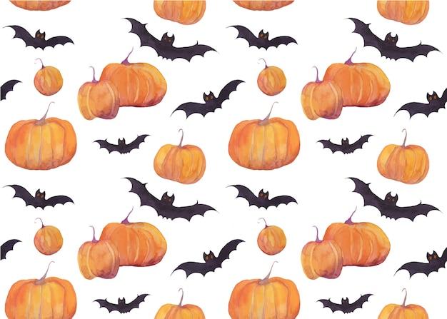 Padrão de aquarela de halloween com abóboras e morcegos Vetor Premium