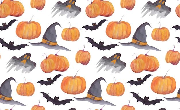 Padrão de aquarela de halloween com abóboras Vetor Premium