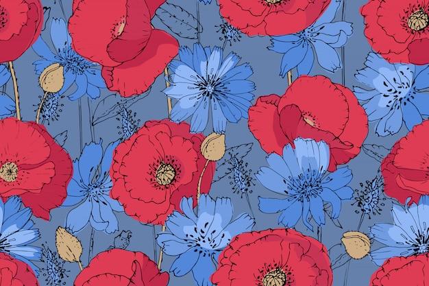 Padrão de arte floral vetor. papoilas vermelhas e chicória azul (succory) com botões bege em fundo azul. Vetor Premium