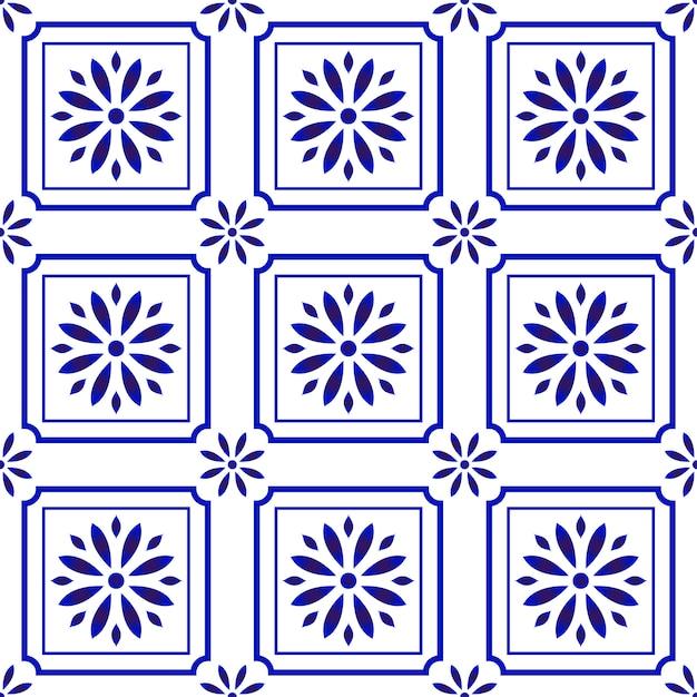 Padrão de azulejo bonito com flor Vetor Premium