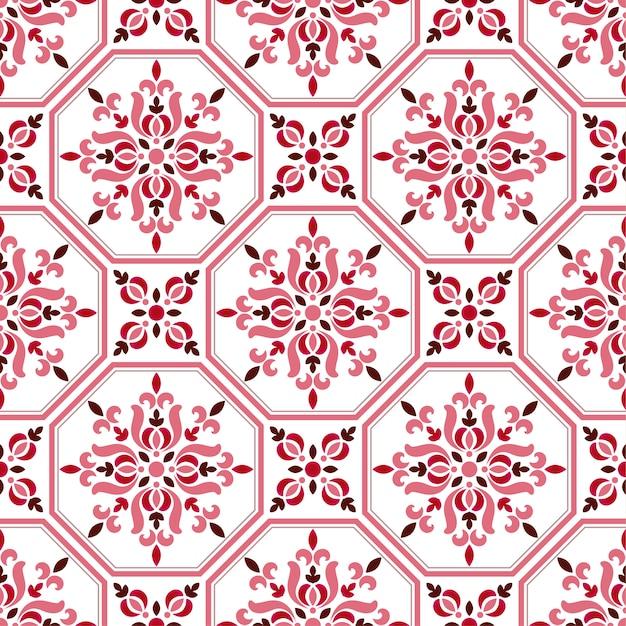 Padrão de azulejo, colorido floral sem costura fundo Vetor Premium