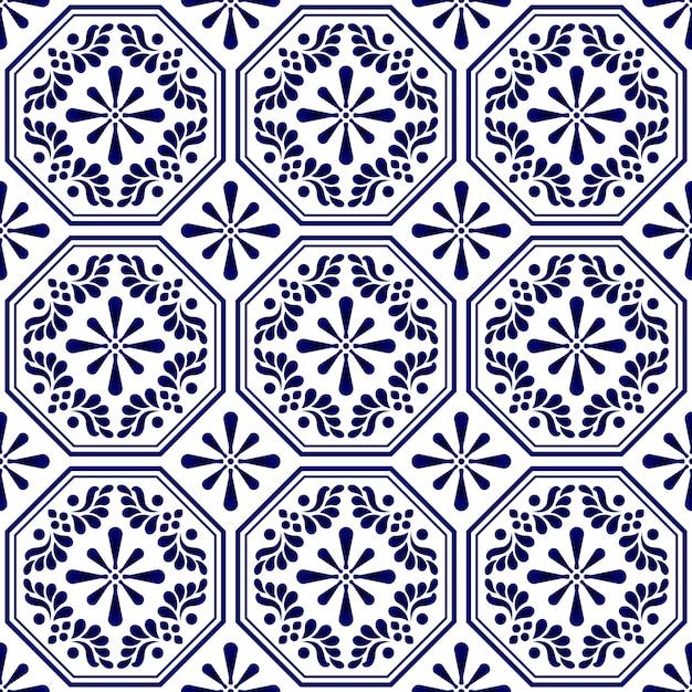 Padrão de azulejo sem costura decorativa Vetor Premium