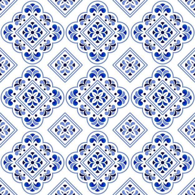 Padrão de azulejos decorativos azul e branco Vetor Premium