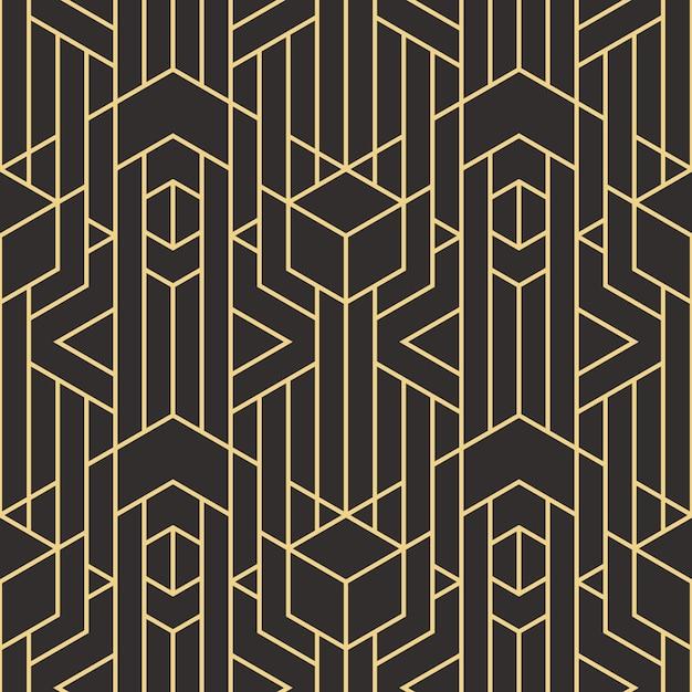 Padrão de azulejos modernos sem costura arte deco abstrata Vetor Premium