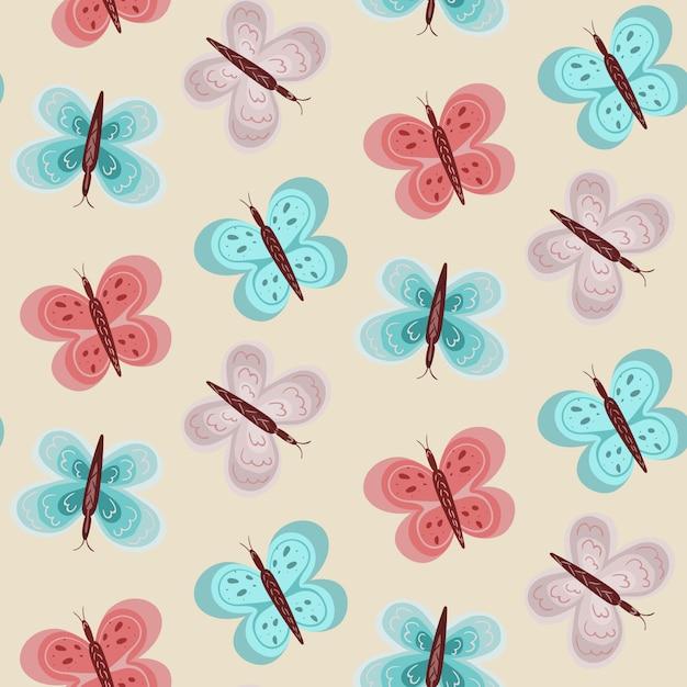 Padrão de bebê menina com borboletas azuis e rosa Vetor Premium