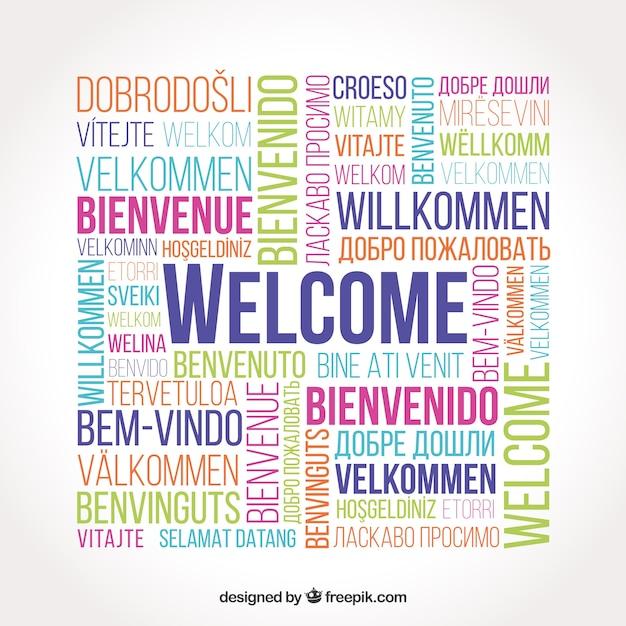 Padrão de boas-vindas em diferentes idiomas Vetor grátis